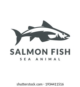 Stylish Salmon Fish Logo. Logo Template