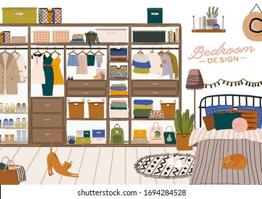 Stylish Scandinavian bedroom interior - bed, sofa, wardrobe, mirror, night stand, plant, lamp, home decorations. Cozy modern comfy apartment furnished in Hygge style. Vector illustration. Isolated