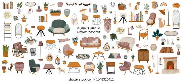 Stylish Scandinavian living room interior - sofa, armchair, coffee table, houseplant, lamp, home decorations. Cozy modern comfy apartment furnished in Hygge style. Vector illustration. Isolated