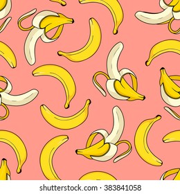 Stylish seamless background with bananas. Seamless vector pattern
