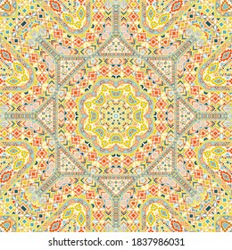 Stylish seamless ornament with geometric elements structure. Ethnic moroccan design. Fabric print. Small elements texture. Vector collage pattern.
