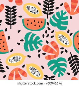 Stylish seamless pattern with fruit. Vector background.