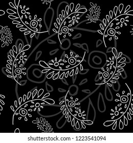 Stylish Seamless pattern with leaves on a black background. Vector. Perfect for your design.