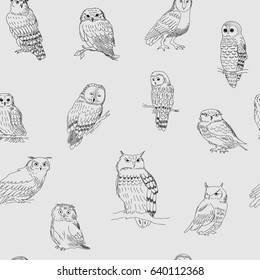 Stylish seamless pattern with a owls on a gray background
