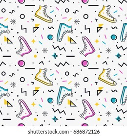 Stylish seamless pattern with sneakers and abstract geometric shapes in memphis style. Trendy vector background in white, blue, pink, yellow and black colors.