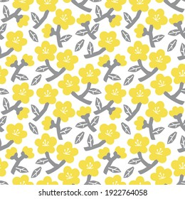 Stylish seamless pattern with yellow cherry flowers and grey leaves on the white background. Vector pattern with tiny flowers in pantone 2021 colors.