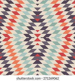 Stylish Seamless Vector Tribal Pattern for Textile Design. Geometrical Tiled Rhombus Background in Ethnic Style. Psychedelic Mix of Rhombuses