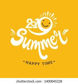 Stylish seasonal template 2019 Summer. Happy time. Bright yellow sun smiles. Vector illustration for season banner, label, poster, logo Summer.