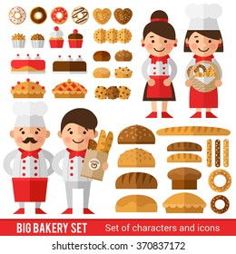 Stylish set of characters and icons on the bakery theme. Baker and his team  in cooks  form. Different types of baking and bakers.