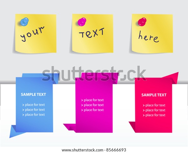 stylish set of colorful origami paper banners and stitskers for your design
