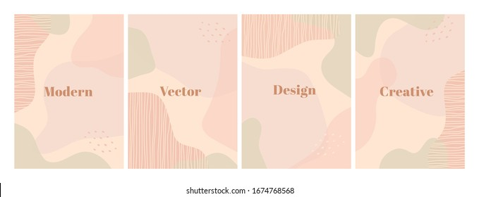 Stylish set of design template with organic abstract shapes in pastel colors. Modern background for beauty branding design. Vertical A4 format. Vector Illustration