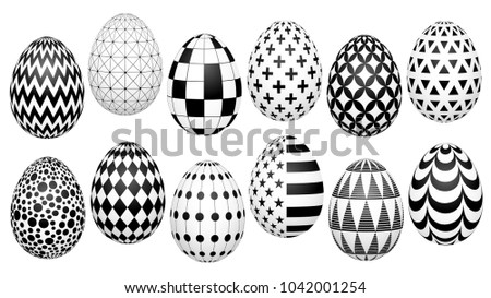 Stylish Set Of Easter Eggs With A Geometric Pattern For The Background Design Advertising