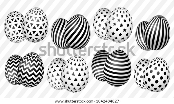 Stylish set of Easter eggs with a geometric pattern for the background, design, advertising, packaging, screensaver, ideas. vector thumbnail number one