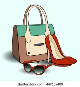 Stylish set. Handbag, shoes and glasses.