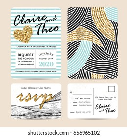 Stylish set of wedding invitation cards decorated with golden glitter. Golden sparks on a striped background.