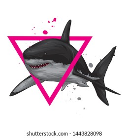 Stylish shark.. Vector illustration for a postcard or a poster, print for clothes. Sea, ocean and fish.