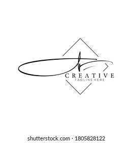 Stylish Silhouette Signature Letter J Logo Design with Square Line Frame