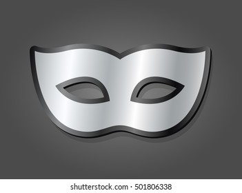 Stylish silver carnival mask with a gradient metallic finish and rounded curves over a grey background, vector illustration