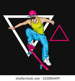 A stylish skater with glasses, a vest and trousers. A handsome guy with a beard. Street sports. Vector illustration for a postcard or a poster, print for clothes. Athlete.