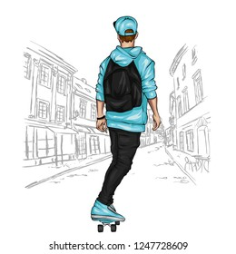 A stylish skater. A handsome guy. Street sports. Vector illustration for a postcard or a poster, print for clothes. Athlete.