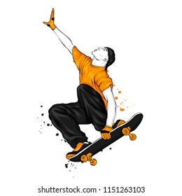 Stylish skater in jeans and sneakers. Skateboard. Vector illustration for a postcard or a poster, print for clothes. Street cultures.