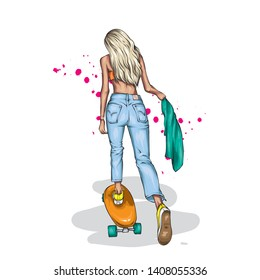 Stylish skater in jeans and sneakers. Skateboard. Vector illustration for a postcard or a poster, print for clothes. Street cultures. Girl.