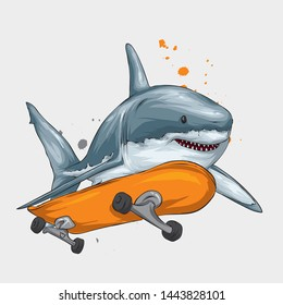 Stylish skater shark in cap. Skateboard. Vector illustration for a postcard or a poster, print for clothes. Street cultures. Sea, ocean and fish.