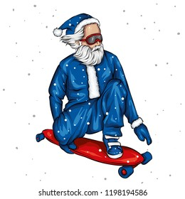Stylish skater wearing santa claus costume. Vector illustration for a postcard or a poster, print for clothes. Street cultures.