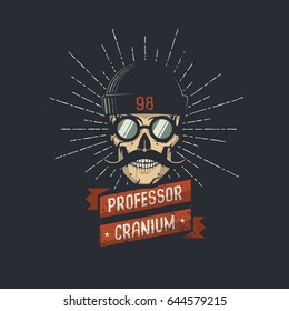 Stylish skull wearing hat, glasses, and mustache with ribbon and professor cranium words. Retro hipster emblem. Vector illustration. Worn texture on a separate layer and can be easily disabled.