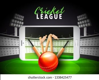Stylish smartphone video screen showing cricket bat and wicket with outside ball on stadium for Cricket championship poster or flyer.