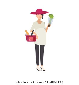 Stylish smiling pregnant woman wearing hat and carrying shopping basket with healthy food and wholesome products isolated on white background. Colorful vector illustration in flat cartoon style