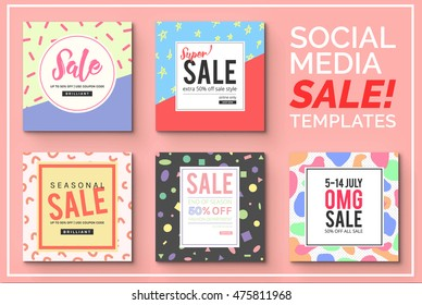 Stylish social media sale templates and ads web banner collection. Vector illustrations for website and mobile website banners, posters, email and newsletter designs, ads, promotional material.