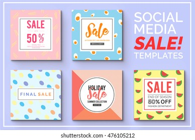 Stylish social media sale templates and ads web banner collection. Vector illustrations for your website and mobile website banners, posters, email and newsletter designs, ads, promotional material.