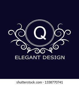 Stylish, sophisticated monogram design. Calligraphic elegant design of the logo of the letter Q. Business sign for royalty, boutique, cafe, hotel, heraldry, jewelry, wine. Vector illustration