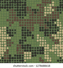 Stylish spotted forest camouflage. Repeating seamless vector pattern. Points of different size forming masking spots. Abstract military style for clothing and ammunition. Original camouflage texture.