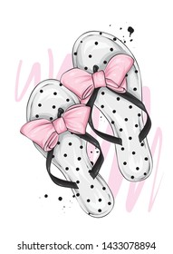 Stylish summer flip flops with a beautiful bow. Fashion footwear. Stylish clothes. Vector illustration for greeting card or poster, print on clothes. Fashion and style, clothing and accessories. Summe