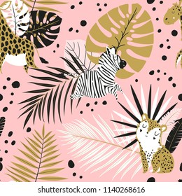 Stylish summer tropical palm leaves in pink, white, black, gold color palete. Summer seamless pattern background with monstera, philodendron leaf. Tropic paradise backdrop vintage theme.