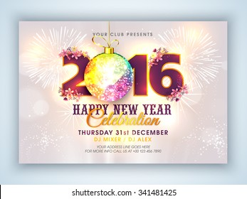 Stylish text 2016 with colorful Xmas Ball on fireworks decorated background, Elegant Flyer or Banner design for Happy New Year celebration.