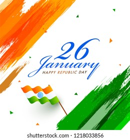Stylish text 26 January with wavy flag on Indian tricolour brush stroke background for Republic Day celebration. Can be Used as greeting card design.