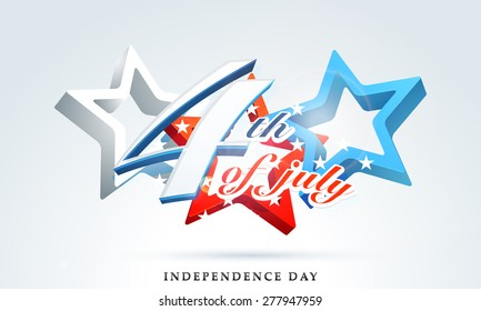 Stylish text 4th of July with 3D glossy stars in national flag color on shiny sky blue background for American Independence Day celebration.