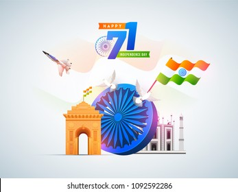 Stylish text 71 years of Freedom, banner, poster or flyer design with India Gate, Taj Mahal, Indian flag waving, fighter aircraft and Ashoka Chakra. Upto 60-80% discount offers.
