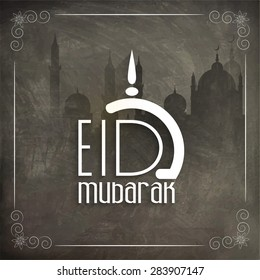 Stylish text Eid Mubarak on Mosque silhouette decorated chalkboard background, can be used as poster, banner or flyer design.