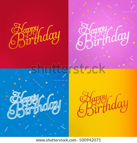 Stylish text happy birthday message greeting stock vector royalty stylish text happy birthday message greeting card vector design set m4hsunfo