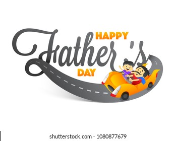 Stylish text Happy Father's Day with father and son duo riding a car on white background.