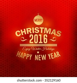 Stylish Text Merry Christmas 2016 Badge, Blurred Background, Banners, Greeting Cards Template