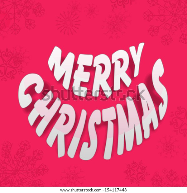 Stylish text Merry Christmas on pink background.