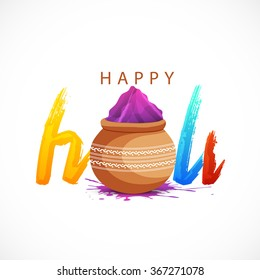stylish text  with mud pots with full of colours on white background for indian color festival Happy Holi.