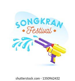 Stylish text of Songkran festival celebration concept colour splashing from water gun.