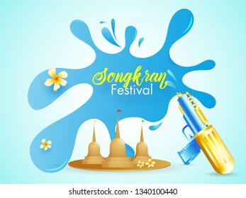 Stylish text Songkran on blue background, festival of water and colors celebration poster or banner design.