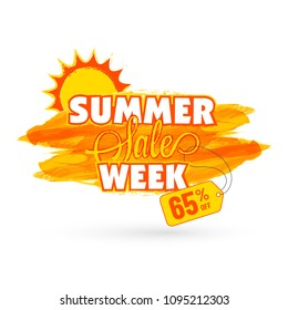 Stylish text Summer Sale Week with 65% Off Offer and Sun on Yellow Abstract Background.